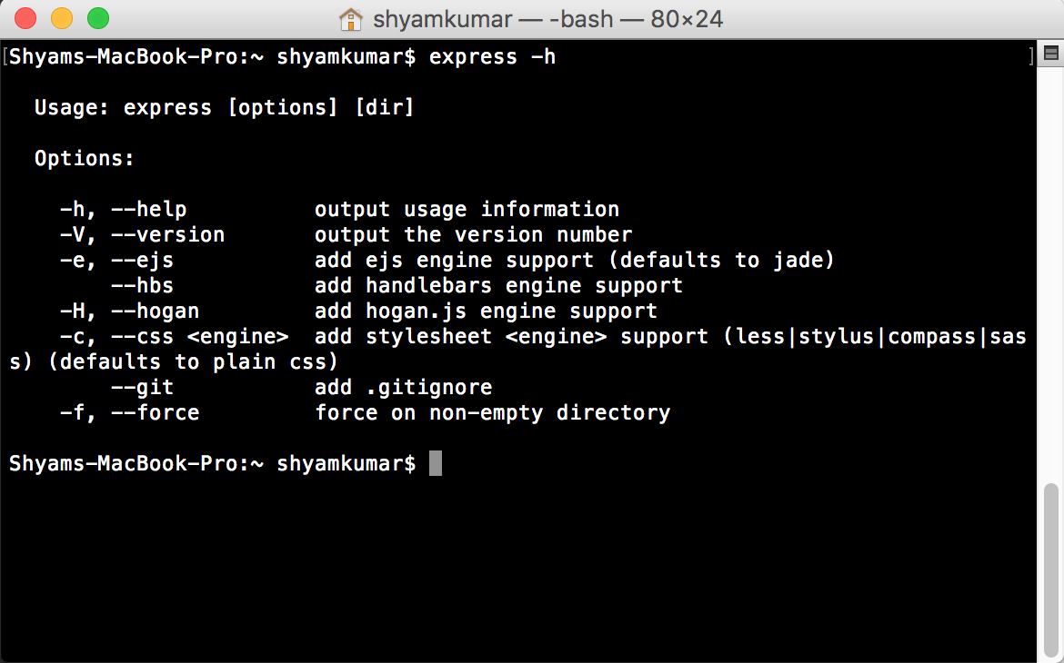 Installing Node js and Express js in Mac - Web-Worker in